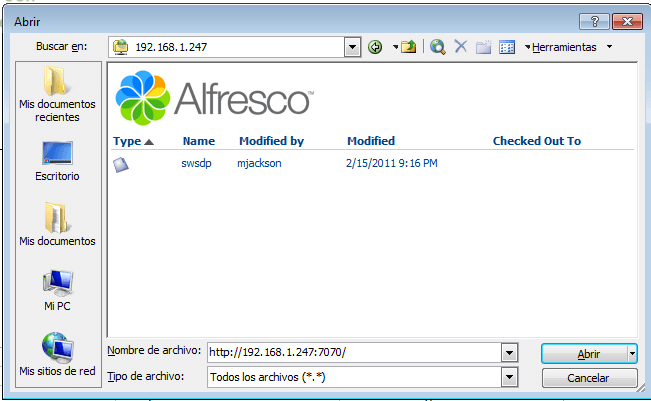 Word files in Alfresco