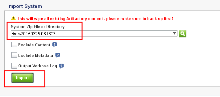 JFrog Artifactory Open Source restore