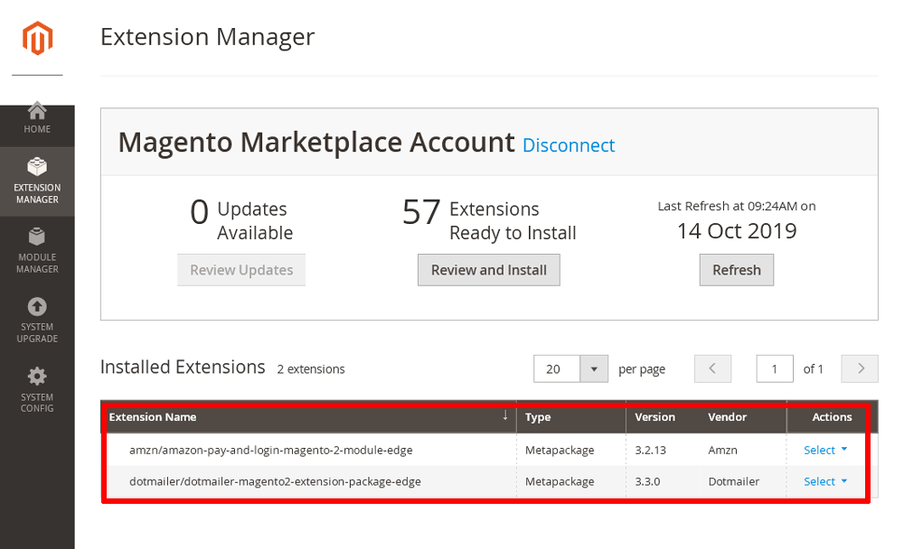 Magento installed extension list