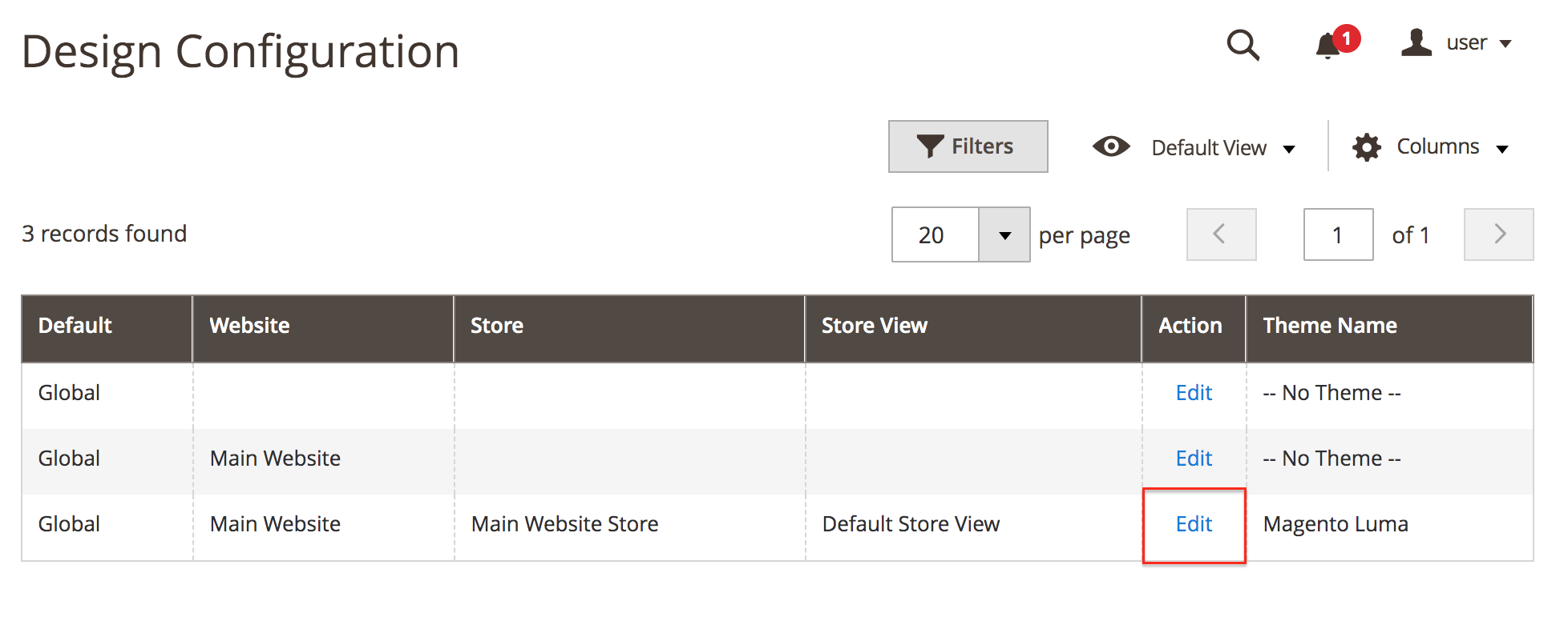 Magento Go to theme edit page