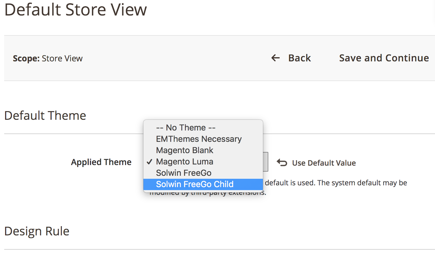 Select theme and save configuration