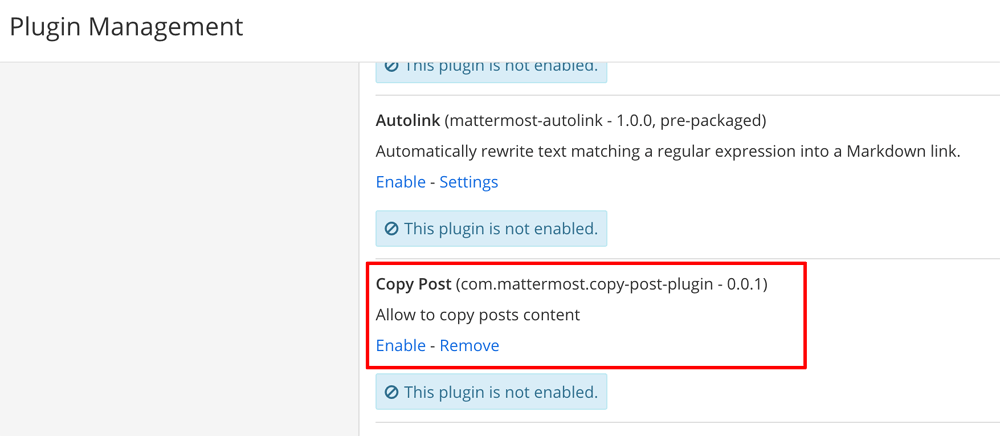 Enable custom plugin