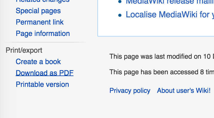 MediaWiki Collection extension