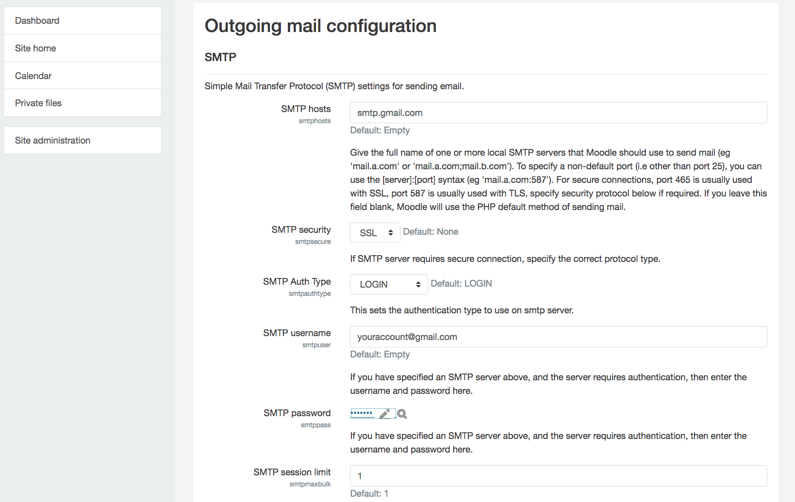Configure SMTP for outbound emails