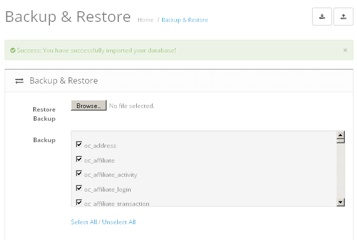 OpenCart restore
