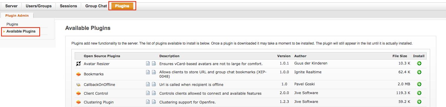 Openfire plugin installation