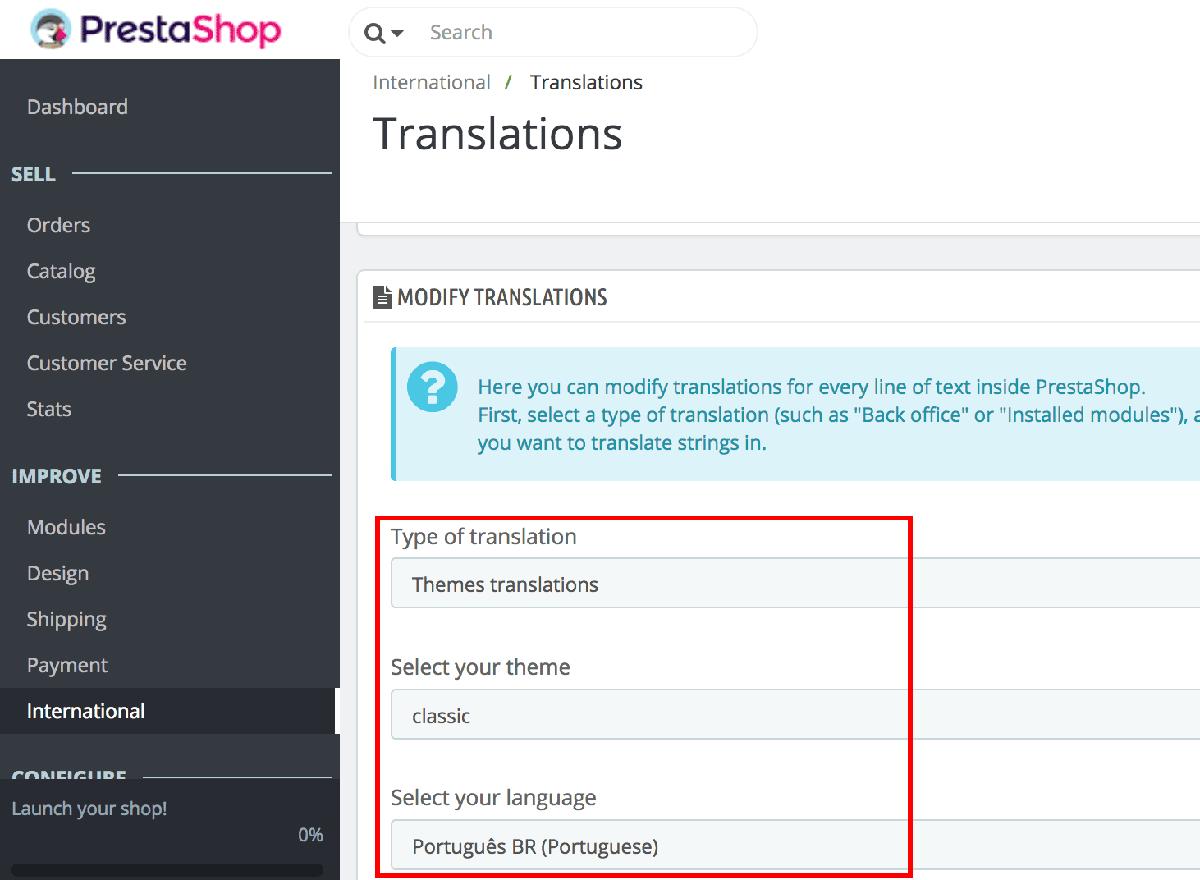 PrestaShop language translation