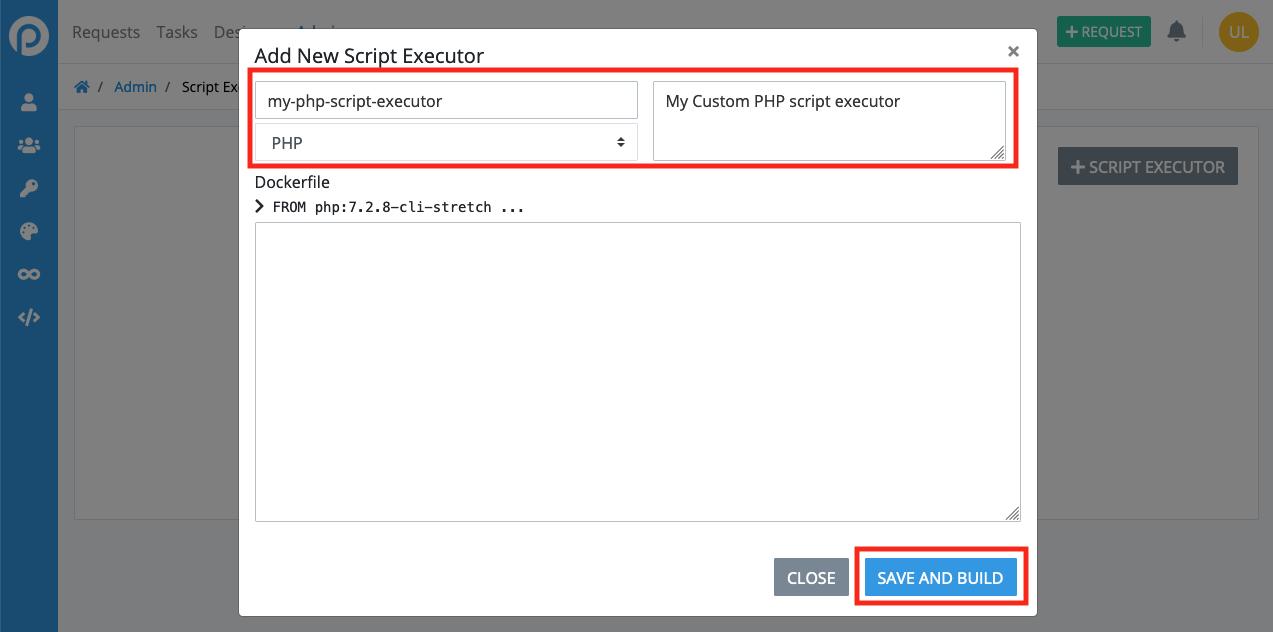 ProcessMaker script executor creation form