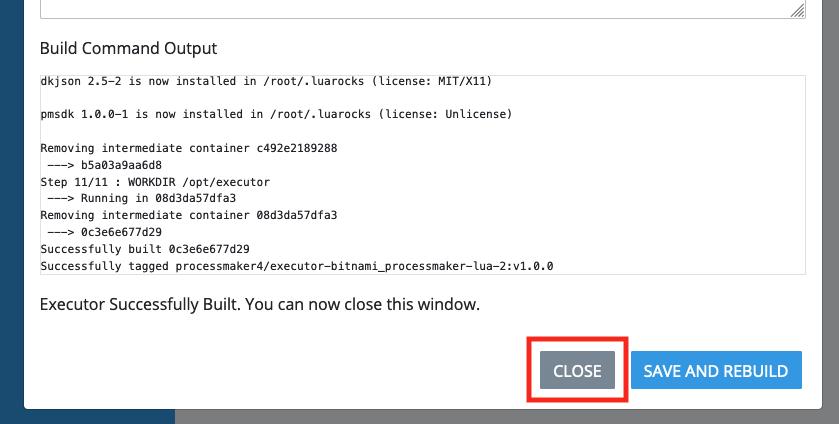 ProcessMaker script executor build logs