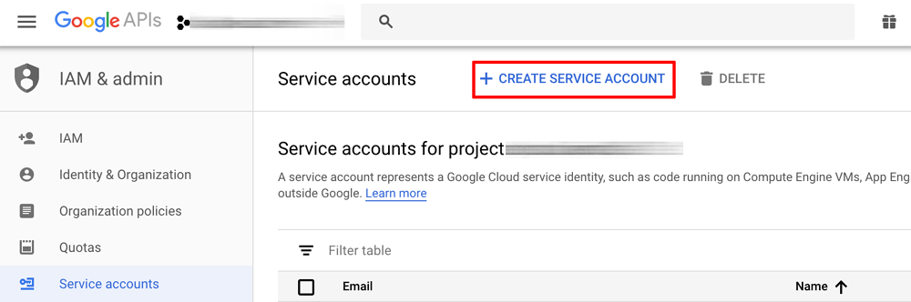 Service account creation