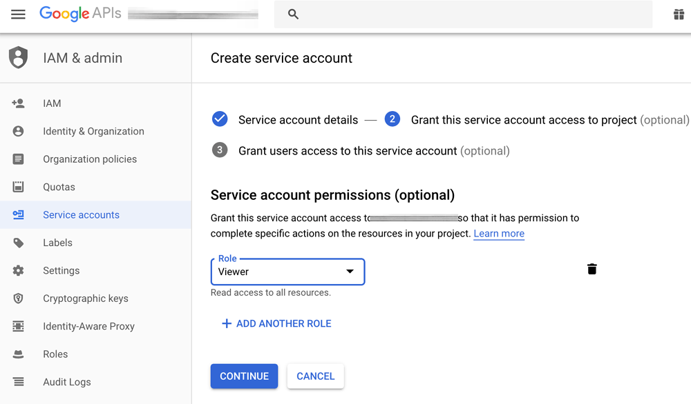 Service account permissions
