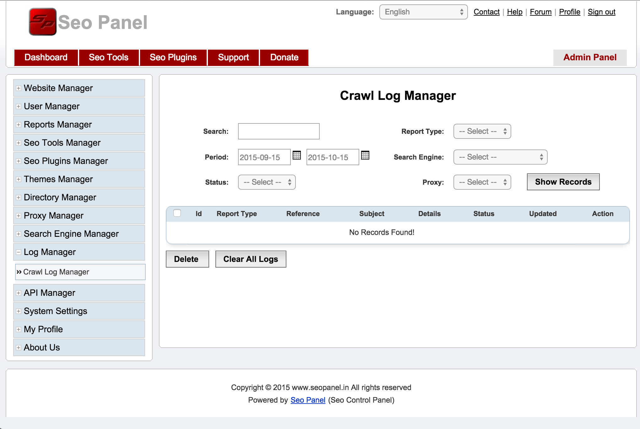 SEO Panel log viewer