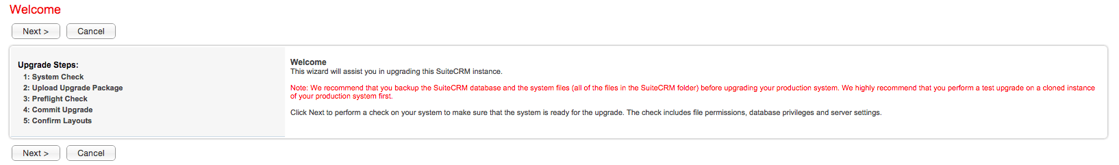 SuiteCRM upgrade