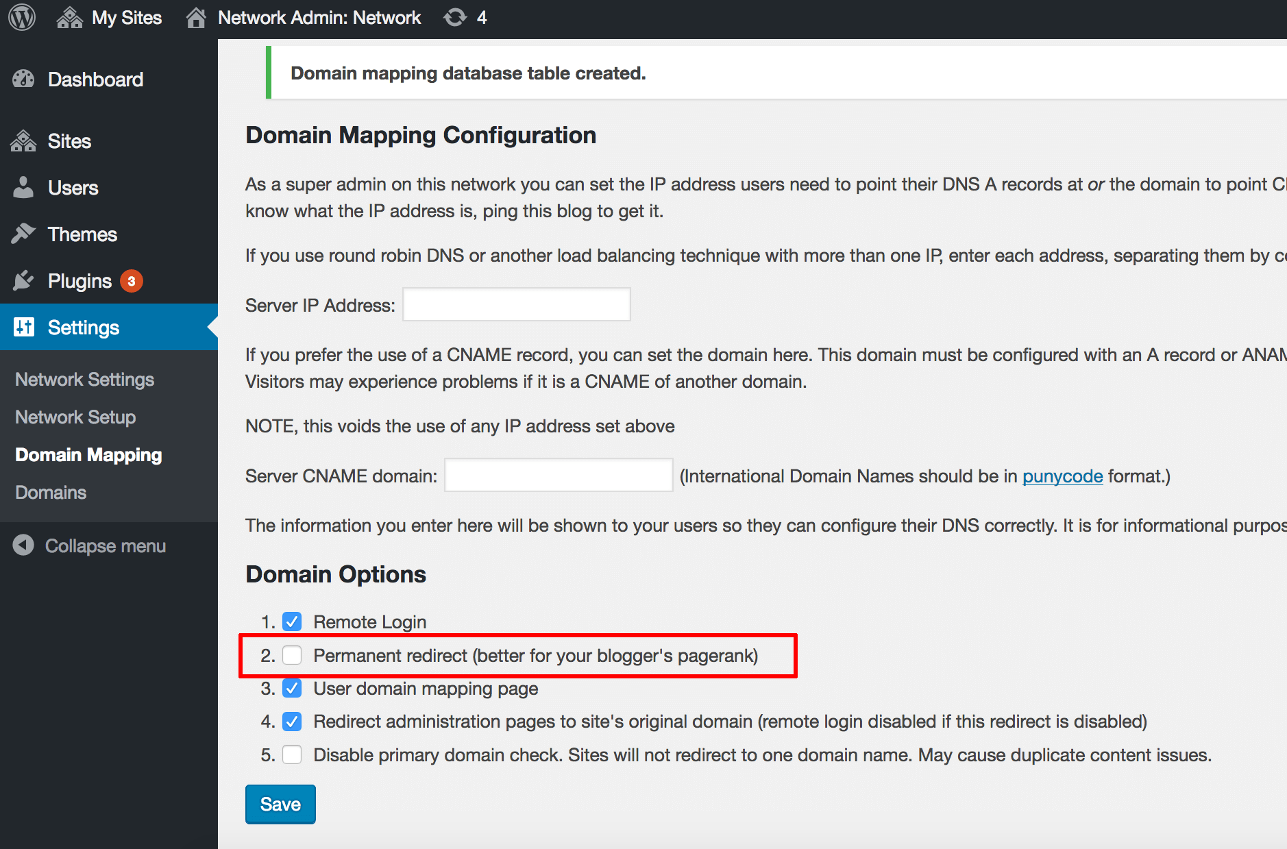 WordPress Multisite configuration