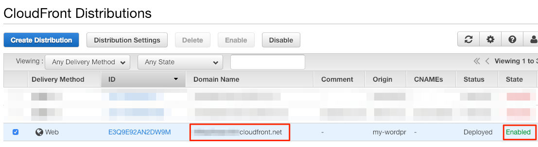 Obtain CloudFront domain name