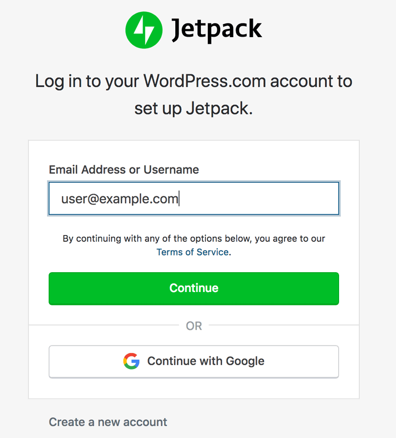 Jetpack account creation