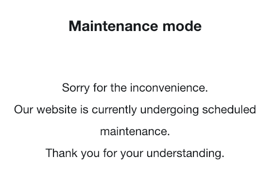 Maintenance mode in action