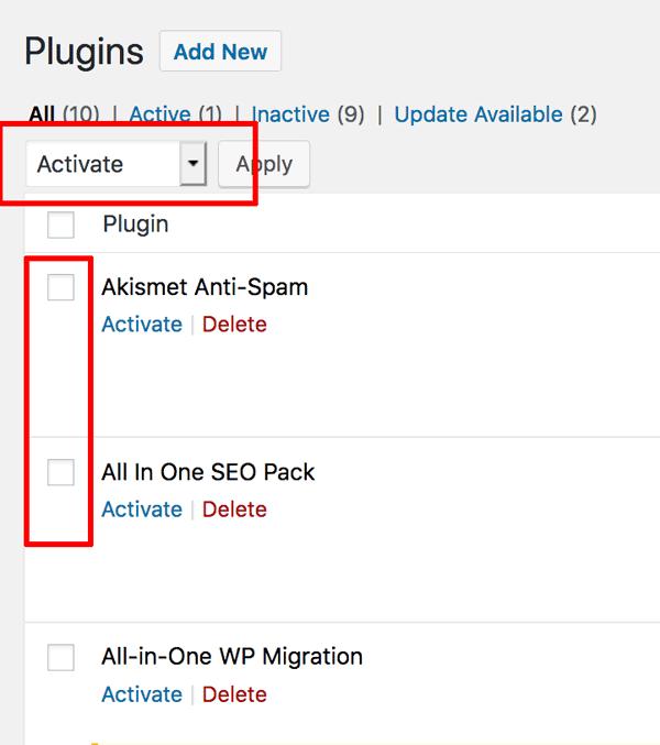 WordPress enable plugins