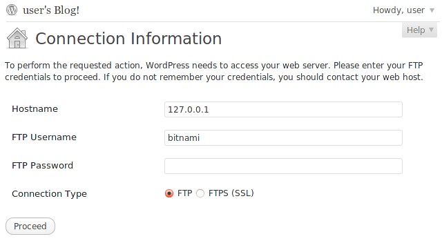 WordPress FTP Credentials