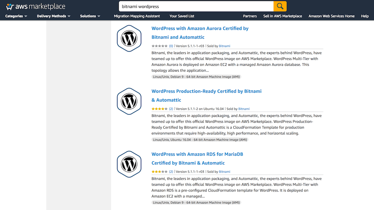 Bitnami WordPress listings on the AWS Marketplace