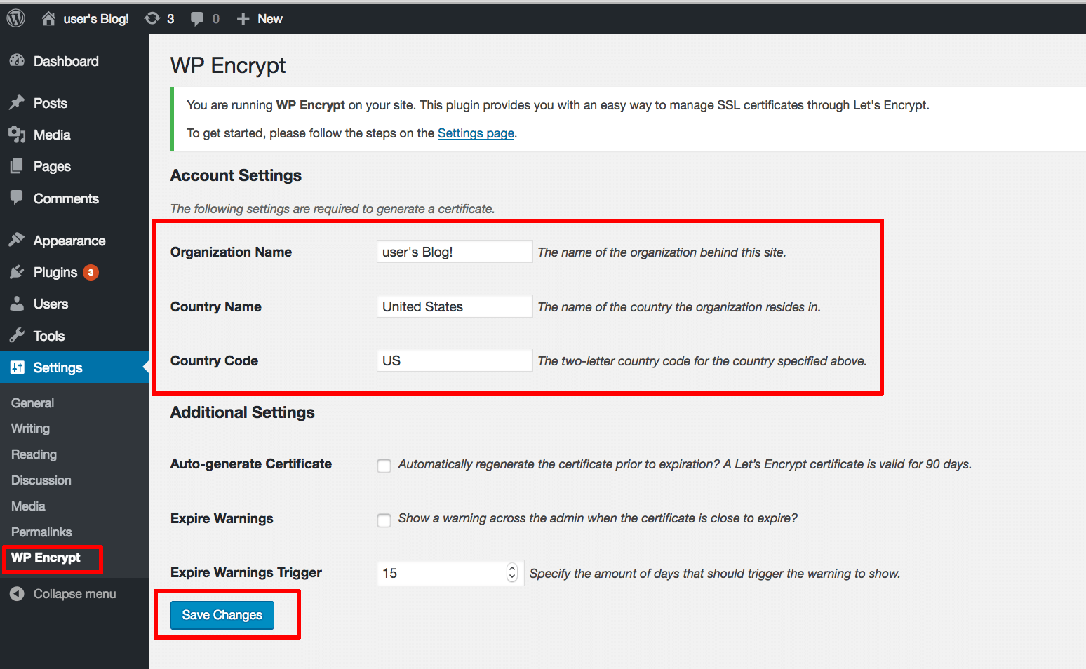 WP Encrypt account settings