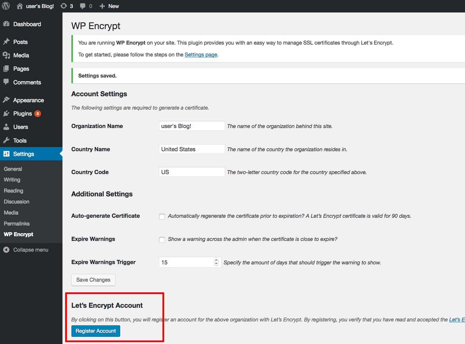 WP Encrypt account registration