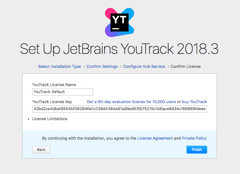 Read and accept the free trial license key for YouTrack
