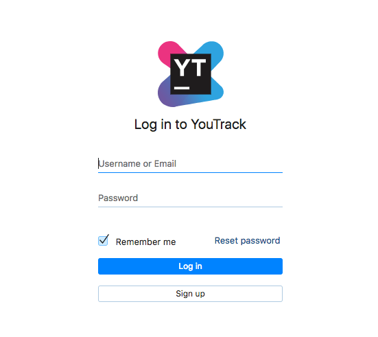 YouTrack login screen
