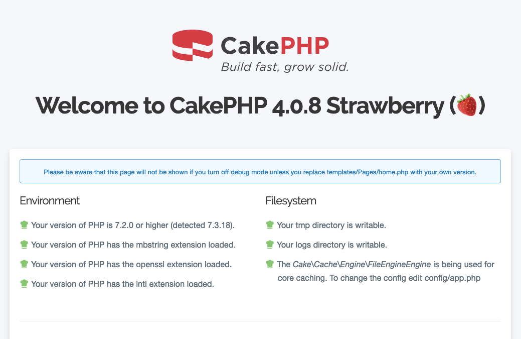 CakePHP 4 welcome page