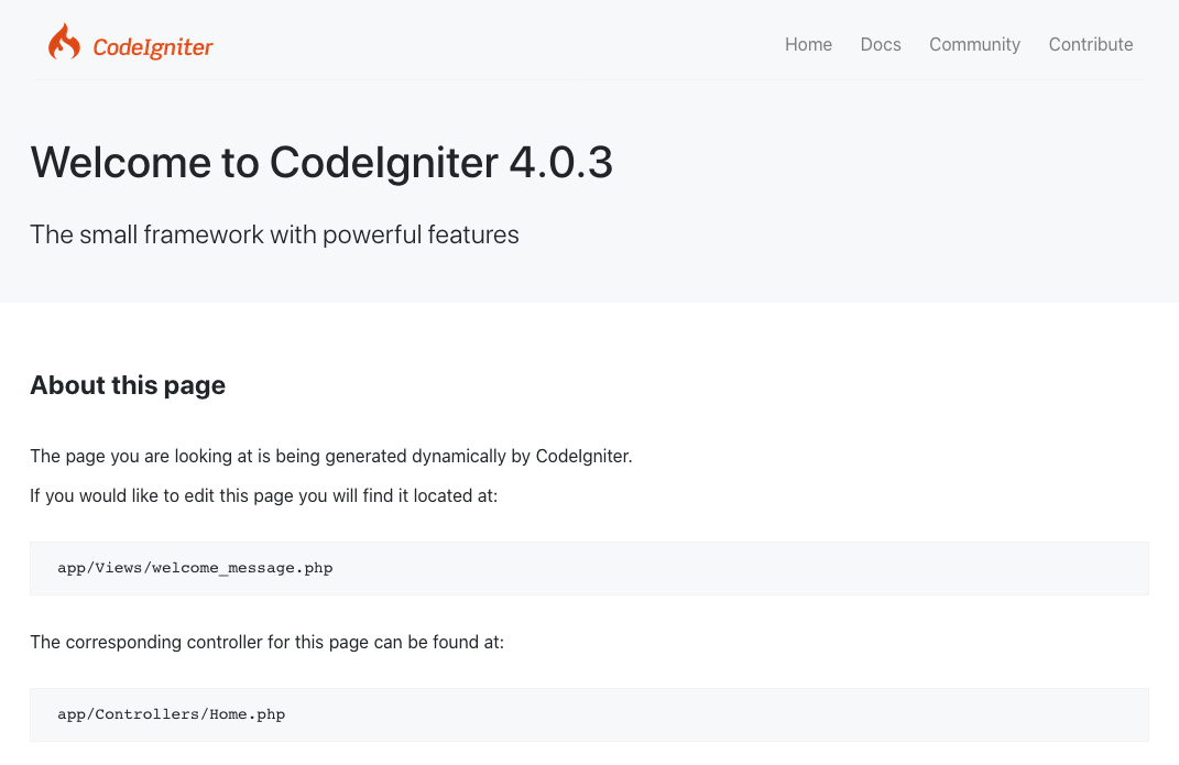 CodeIgniter 4 welcome page