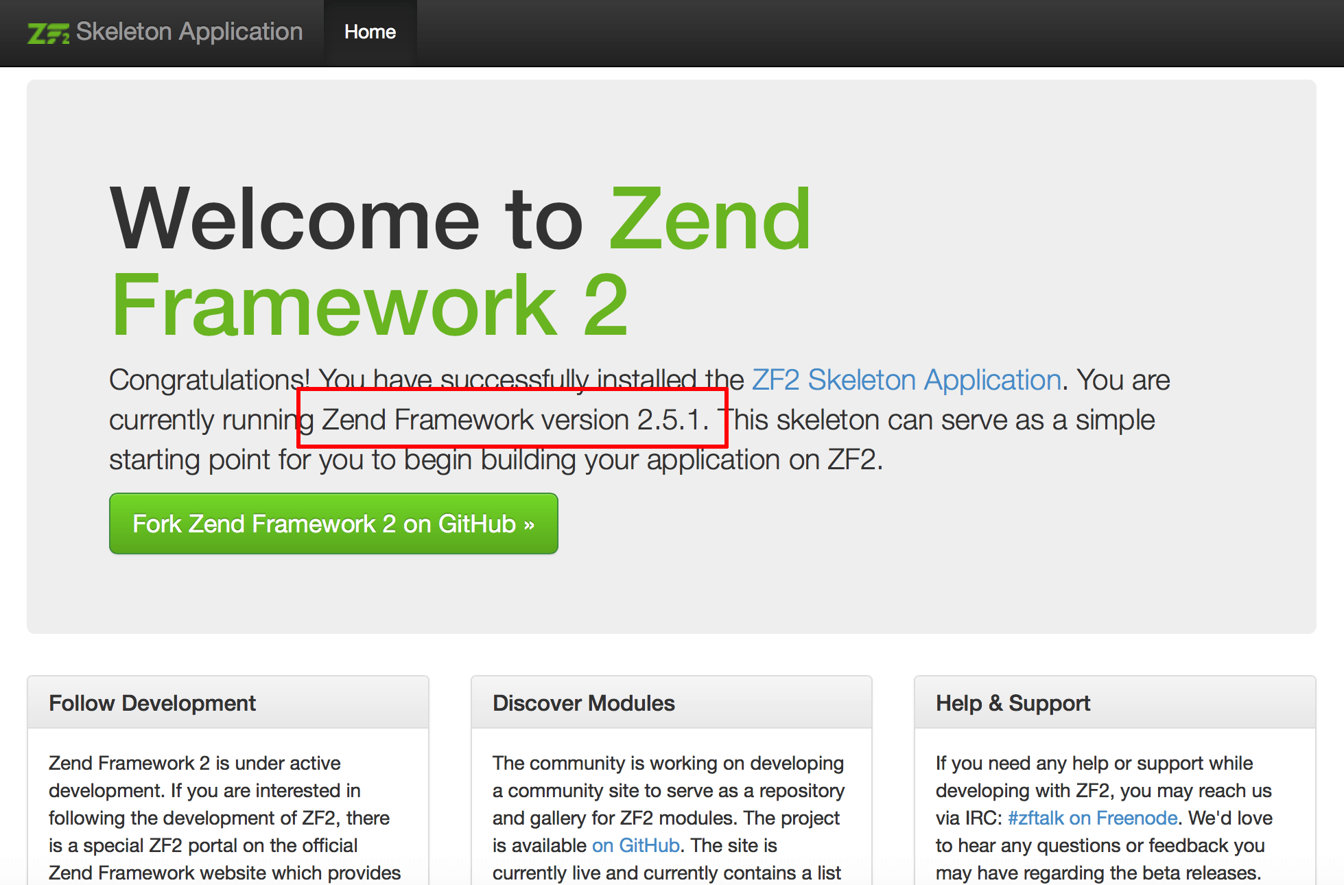 Zend Framework welcome page