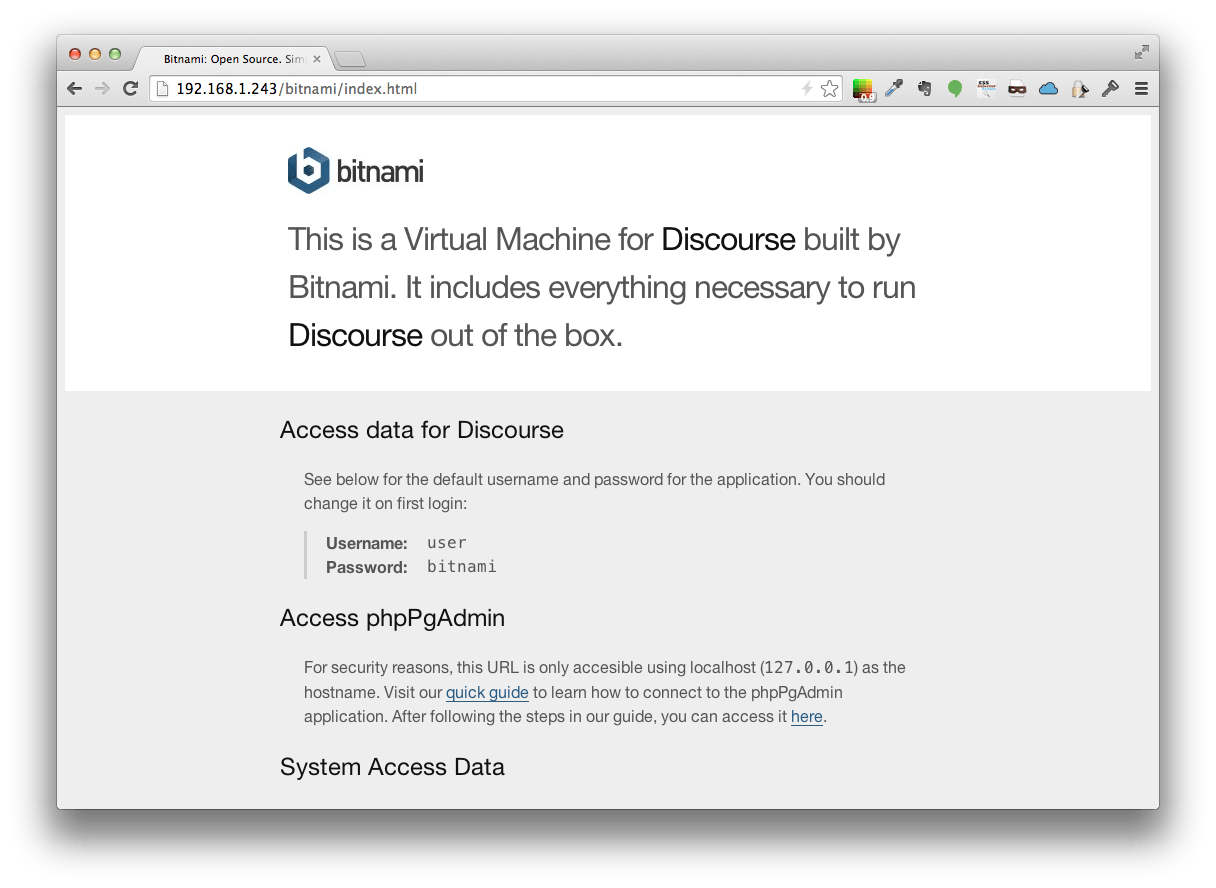 Bitnami Info page