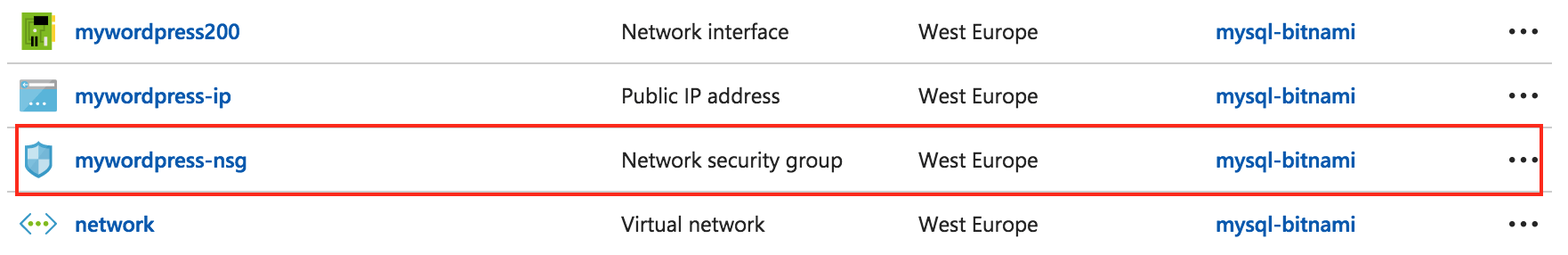 Delete database network security group