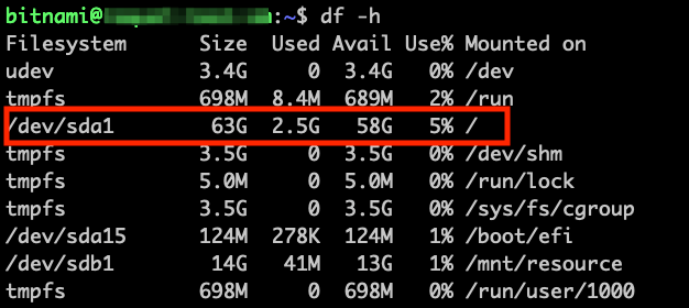 Check the disk size