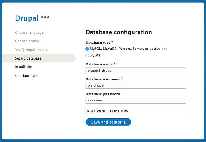 Drupal database configuration