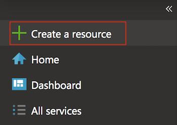 Create a new resource Azure portal