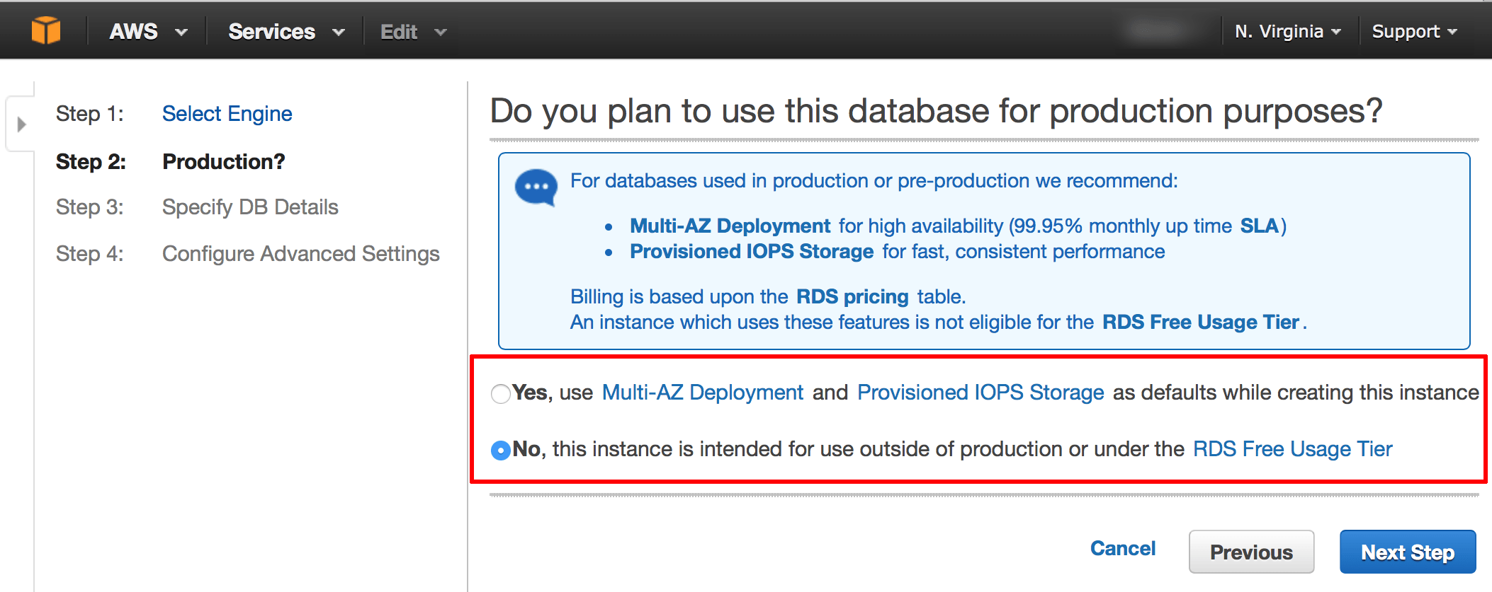 RDS database migration