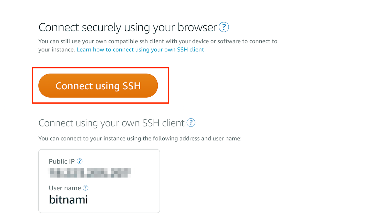 Access instance through SSH