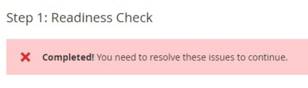 Magento readiness check failure