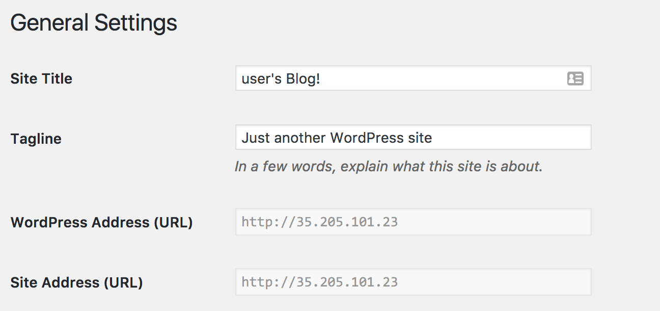 URL Greyed out in WordPress settings