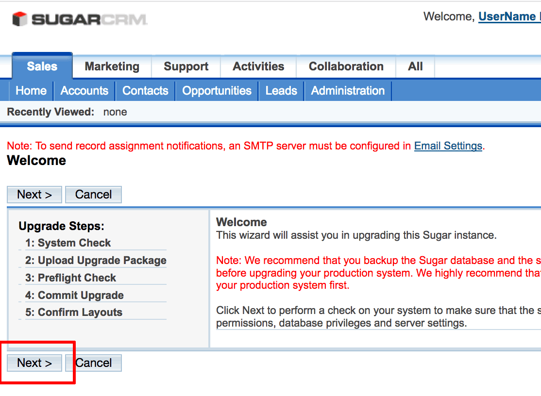 SugarCRM upgrade wizard welcome
