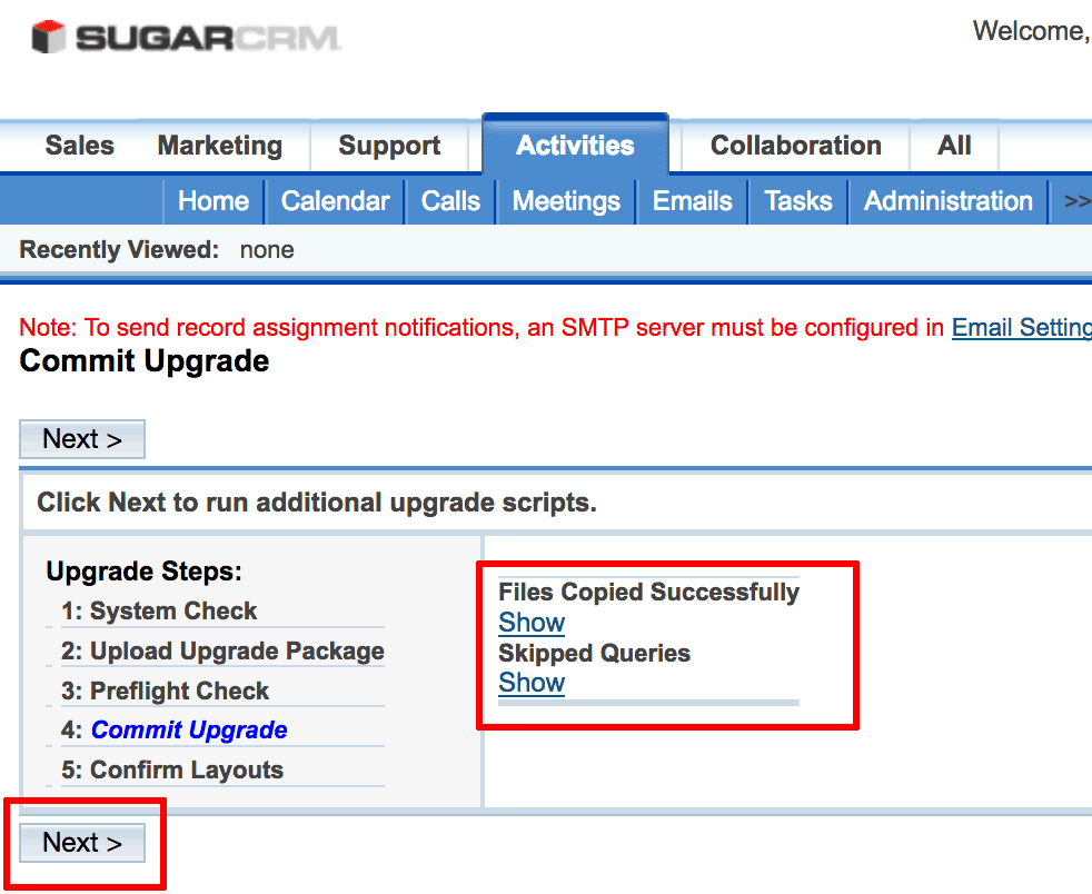 SugarCRM upgrade wizard upgrade success