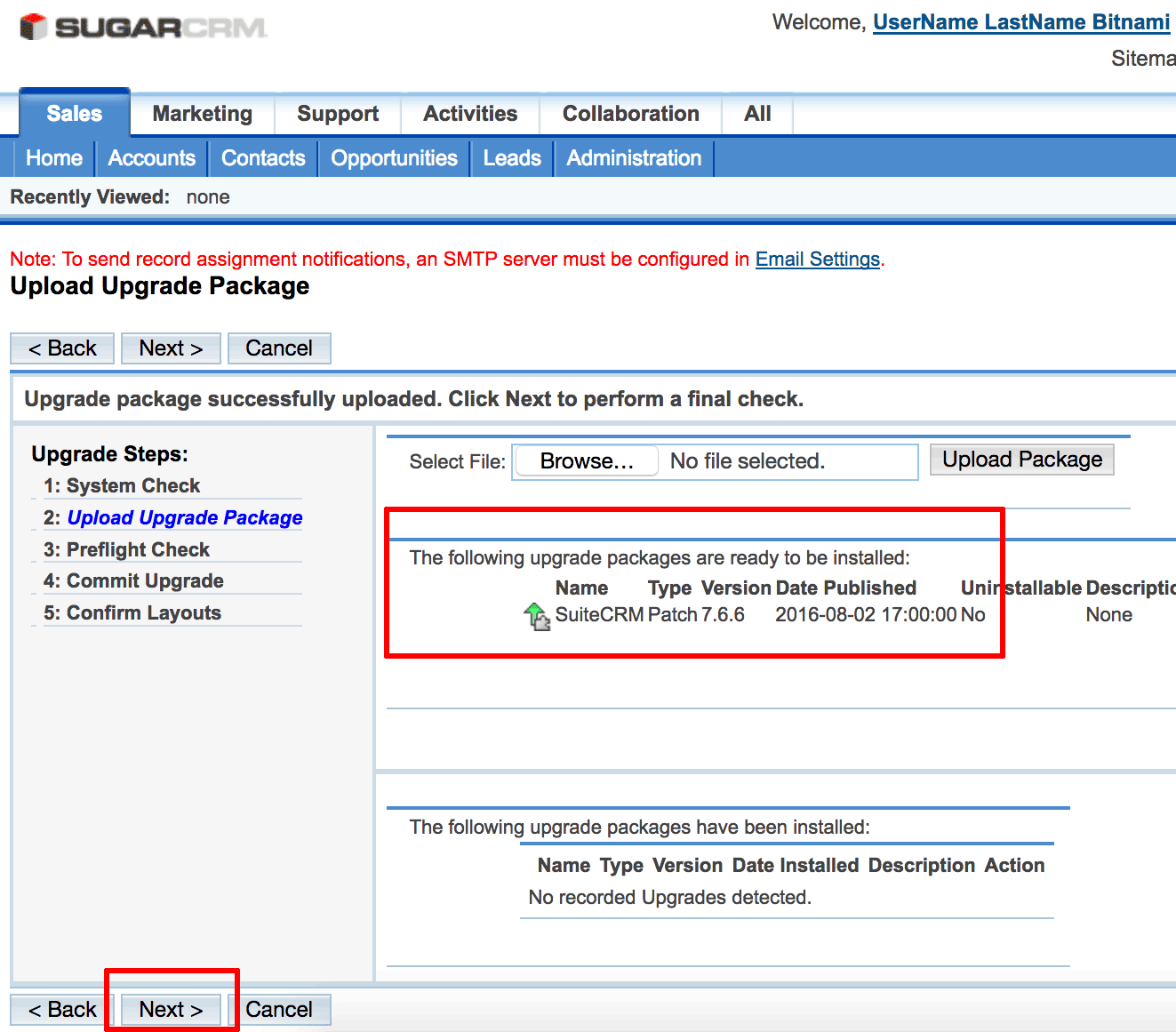 SugarCRM upgrade wizard upload