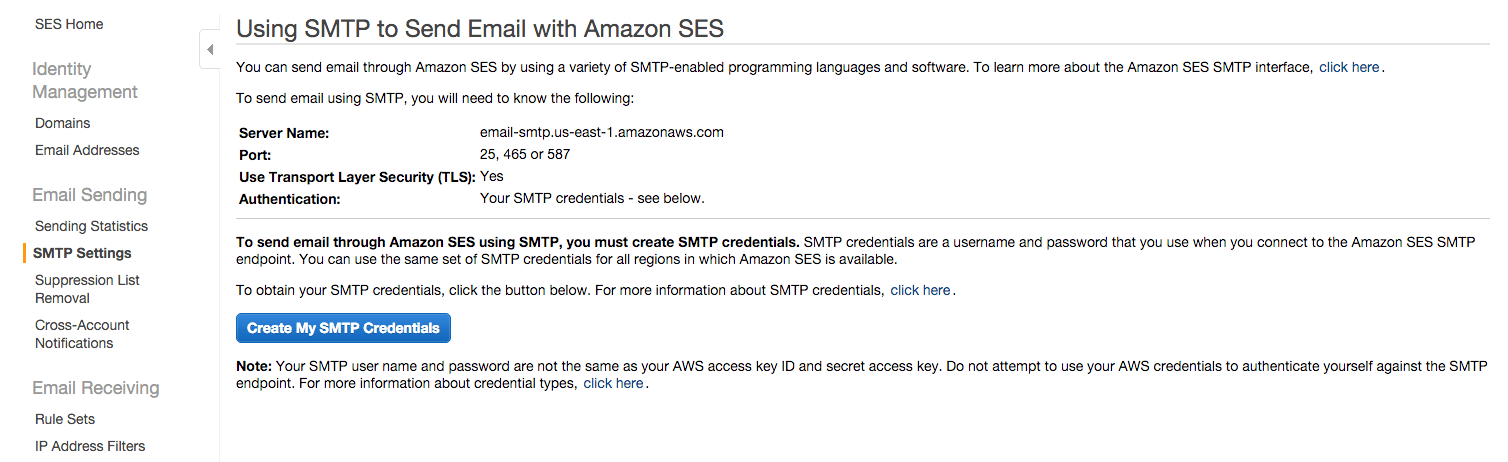 Amazon SES configuration
