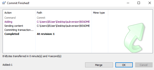 TortoiseSVN commit response