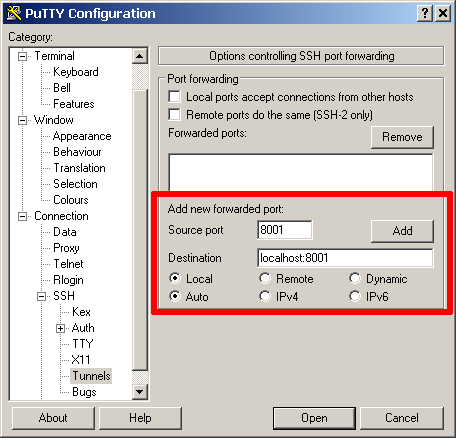 PuTTY tunnel config