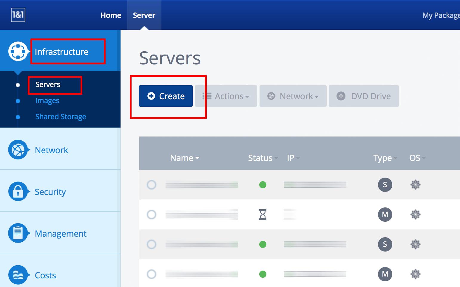 1&1 server creation