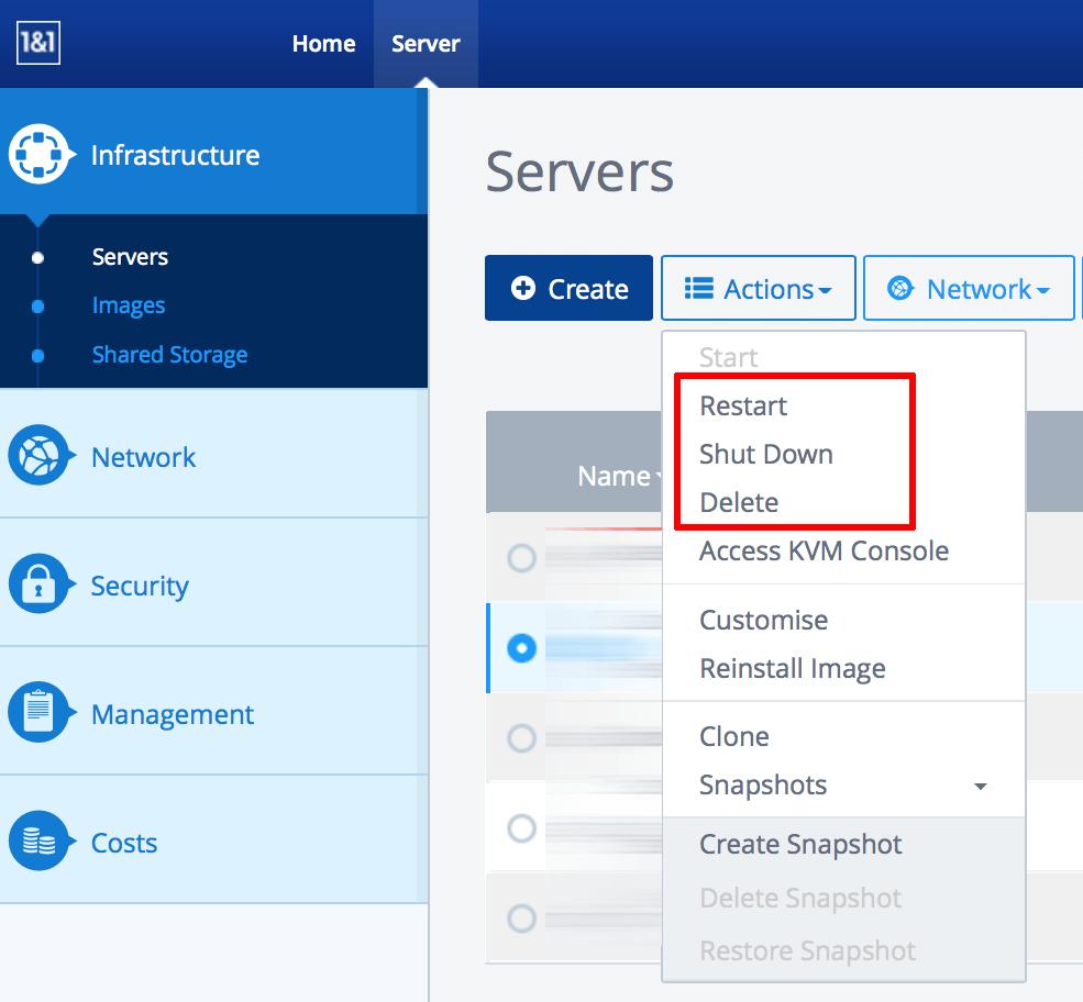 1&1 server usage