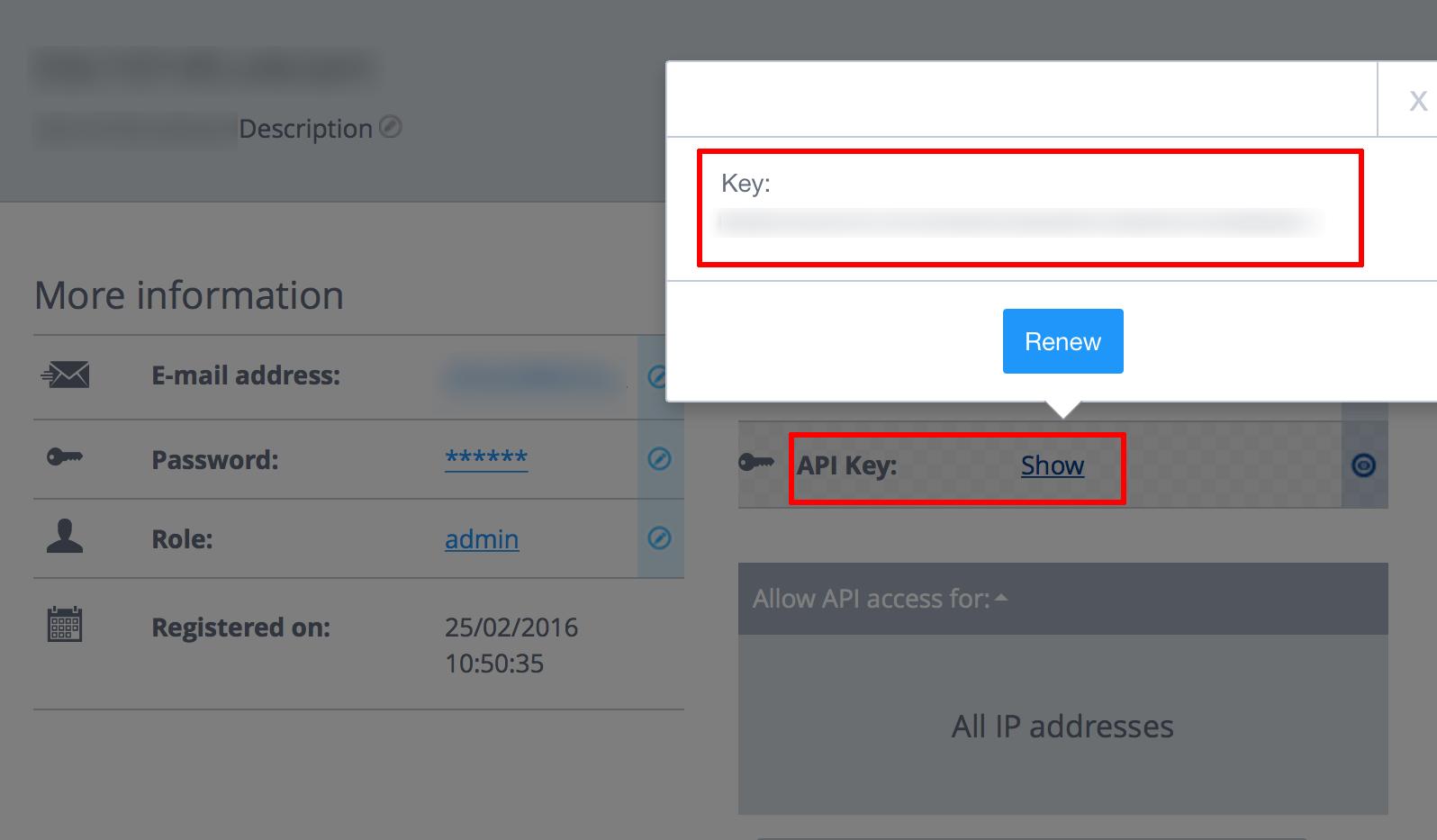 1&1 API account configuration