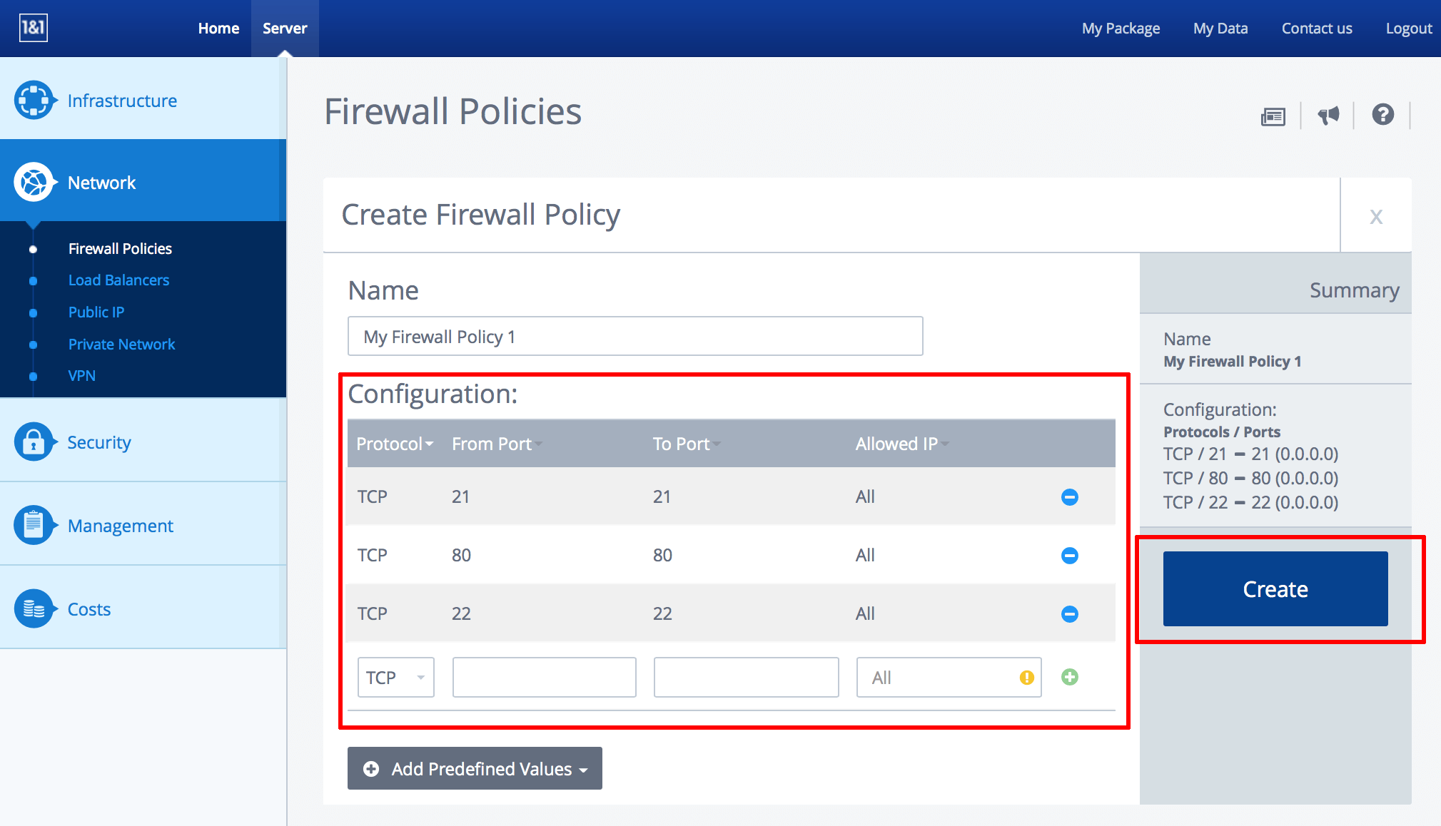 1&1 firewall configuration